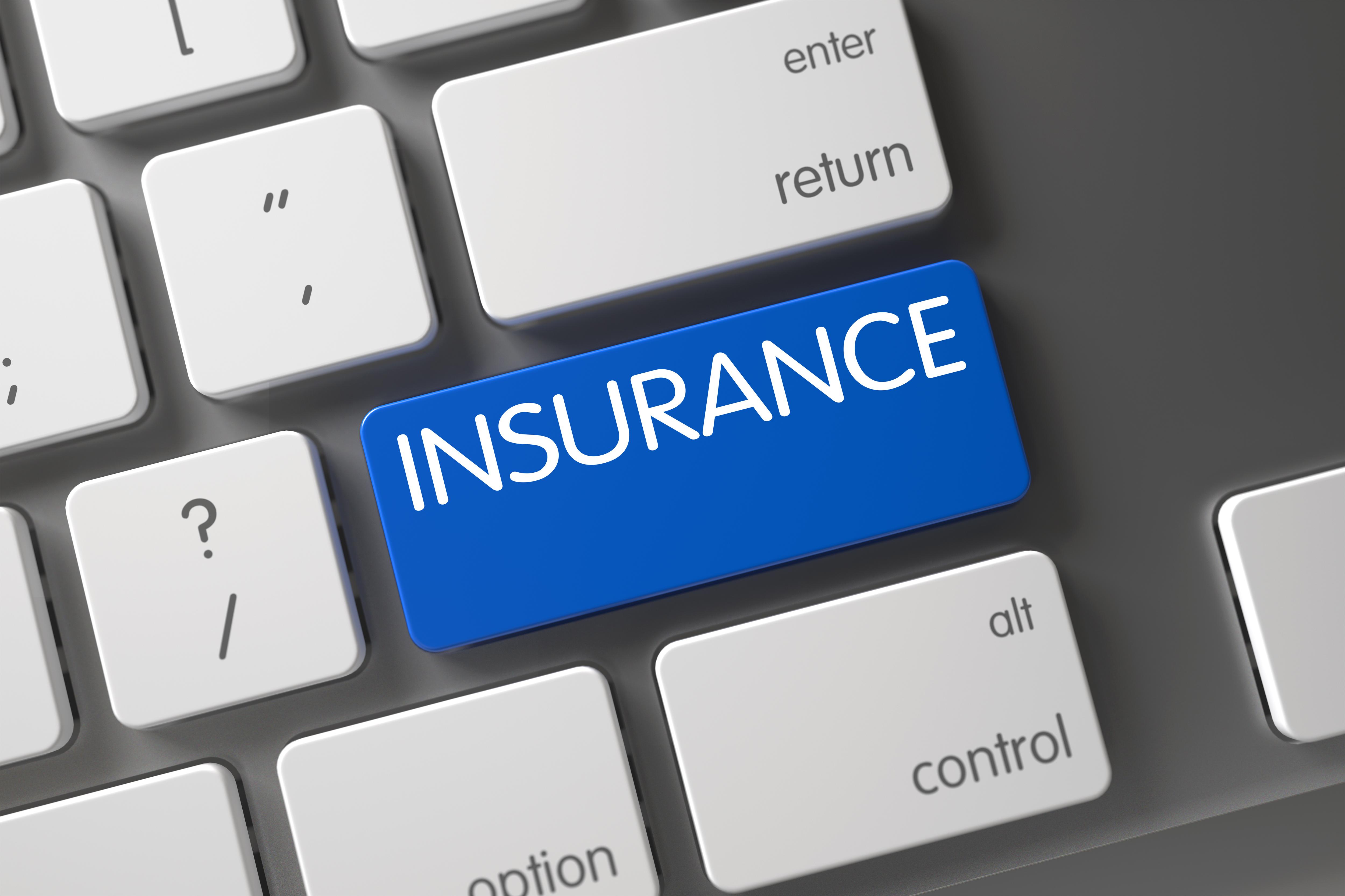 Concept of Insurance, with Insurance on Blue Enter Keypad on Modernized Keyboard. Modern Keyboard Keypad Labeled Insurance. Insurance CloseUp of Laptop Keyboard on Laptop. 3D Illustration.