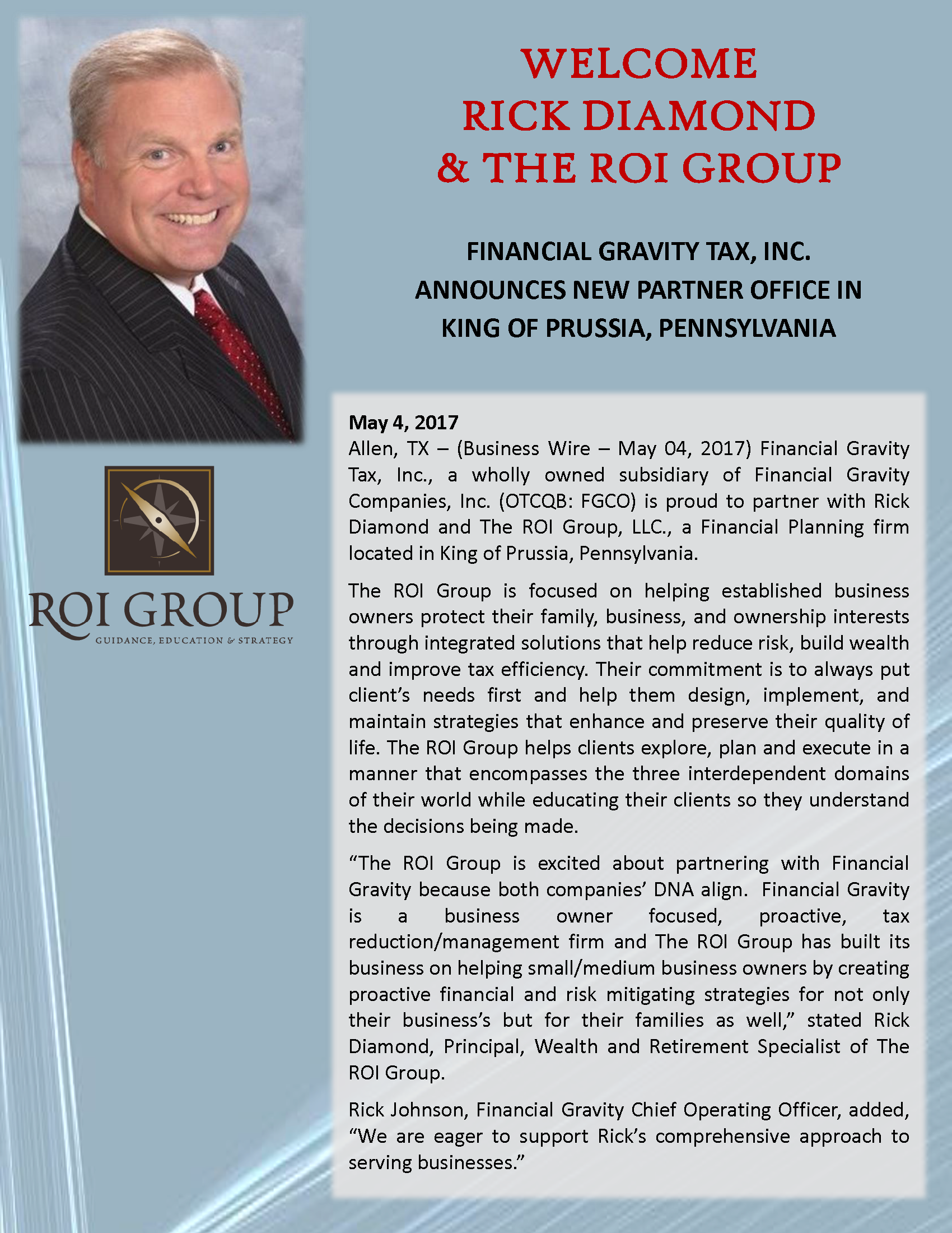 Financial Gravity Welcomes Rick Diamond & The ROI Group, LLC
